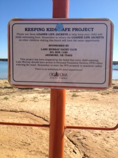 Sign posted at all swim areas around Lake Murray.